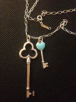 fe7adee2d Tiffany & Co. Oval Link Chain With Heart Key And Trefoil Key Pendants $423