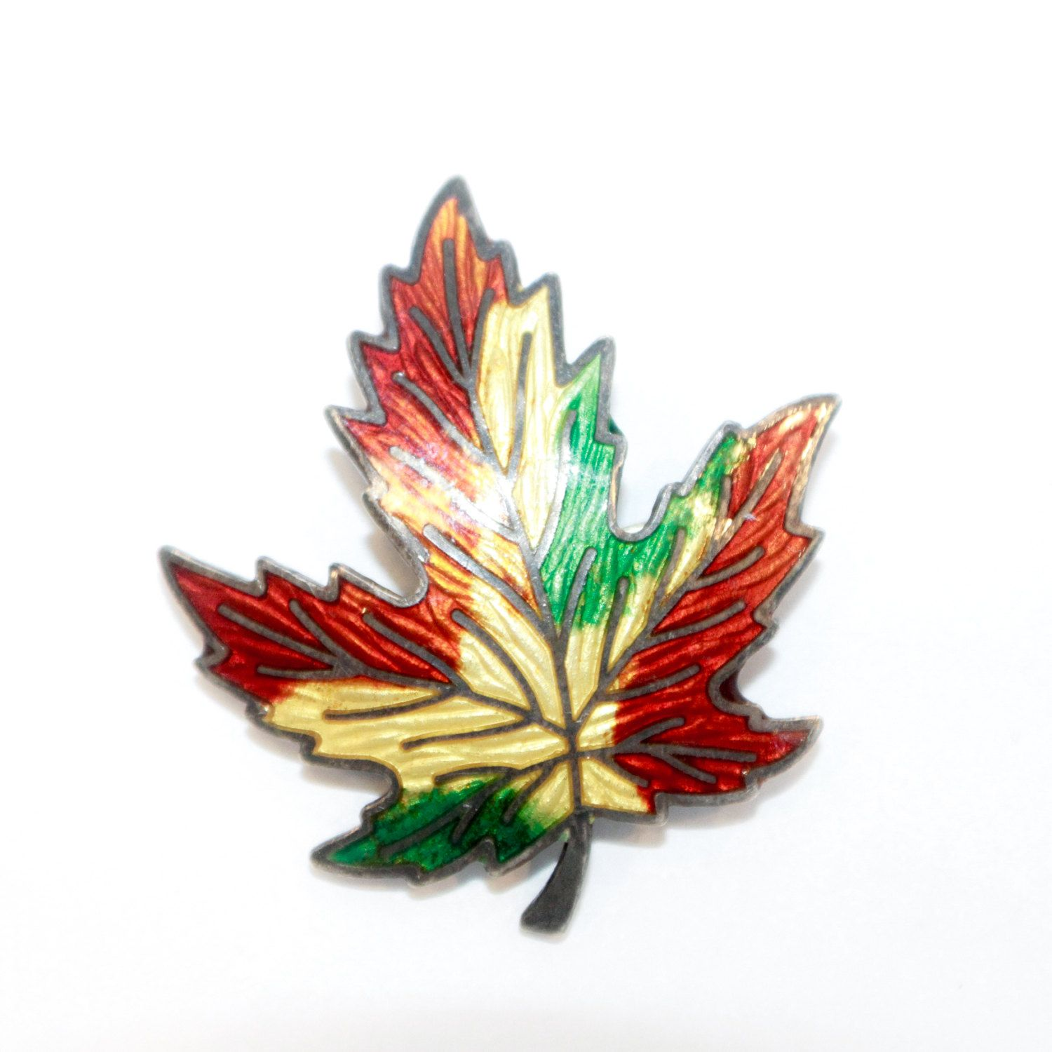 Amco Multi Colored Maple Leaf Brooch With Fall Floral