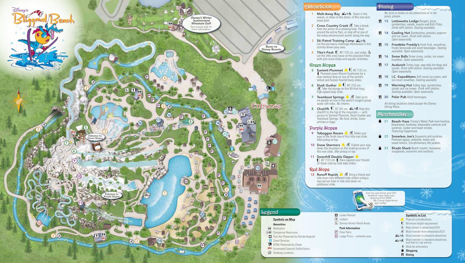 Blizzard Beach Map With Polar Patio Locations Disney World Map