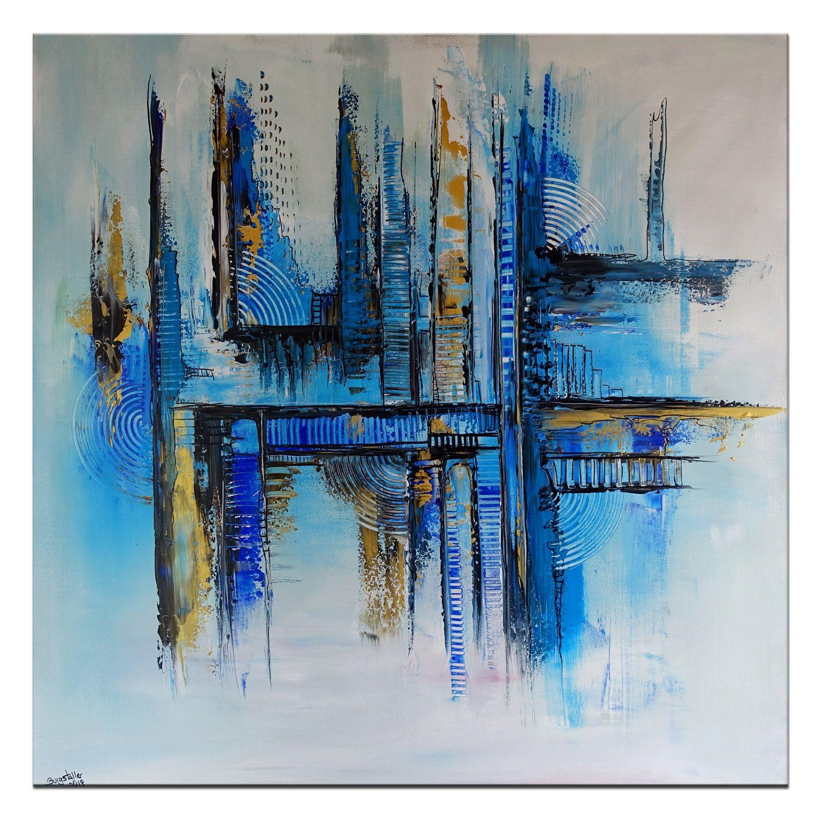 abstraktes leinwandbild blau gold wandbild abstrakt gemalde leinwandbilder bild schwarz weiß abstrakte kunst wohnzimmer