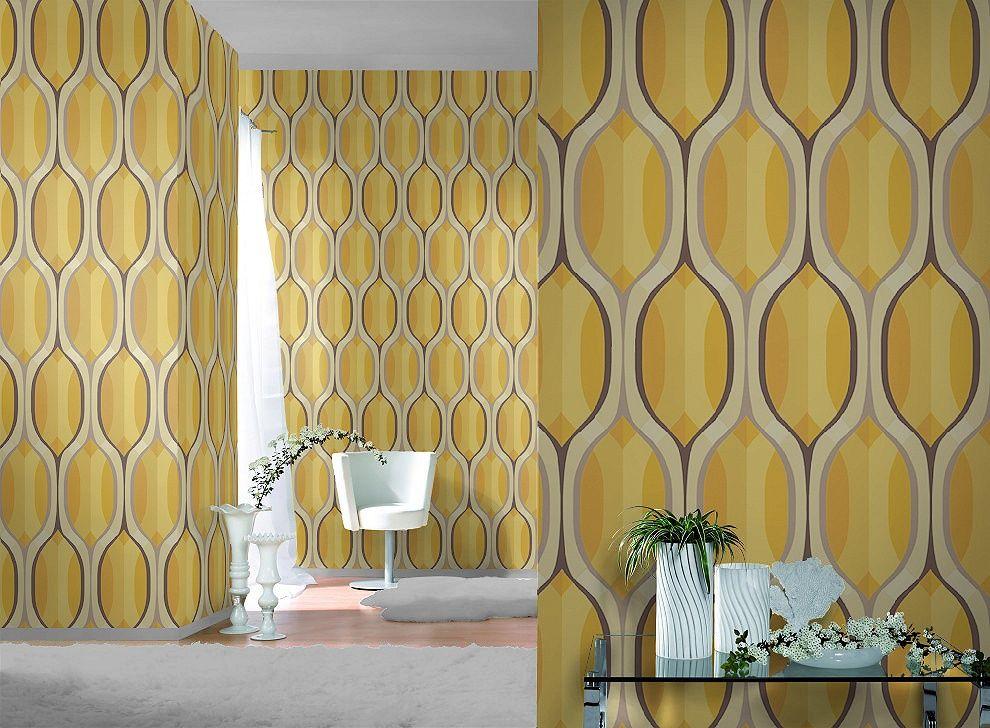 Retro Ogee Textured Vinyl Wallpaper 790030 Mustard Paste