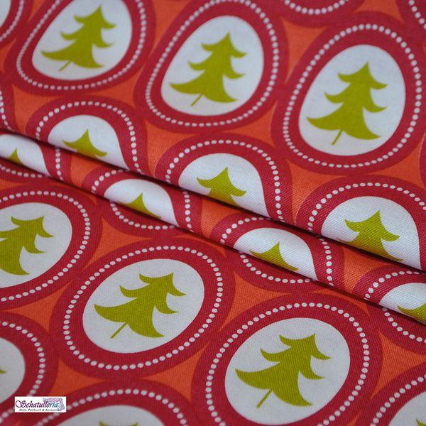 Weihnachtsstoffe von Blend Orange Ovale mit Tanne von Schatulleria-Ohrt auf DaWanda.com