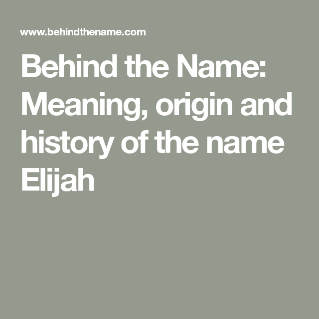 Behind the Name: Meaning, origin and history of the name ...