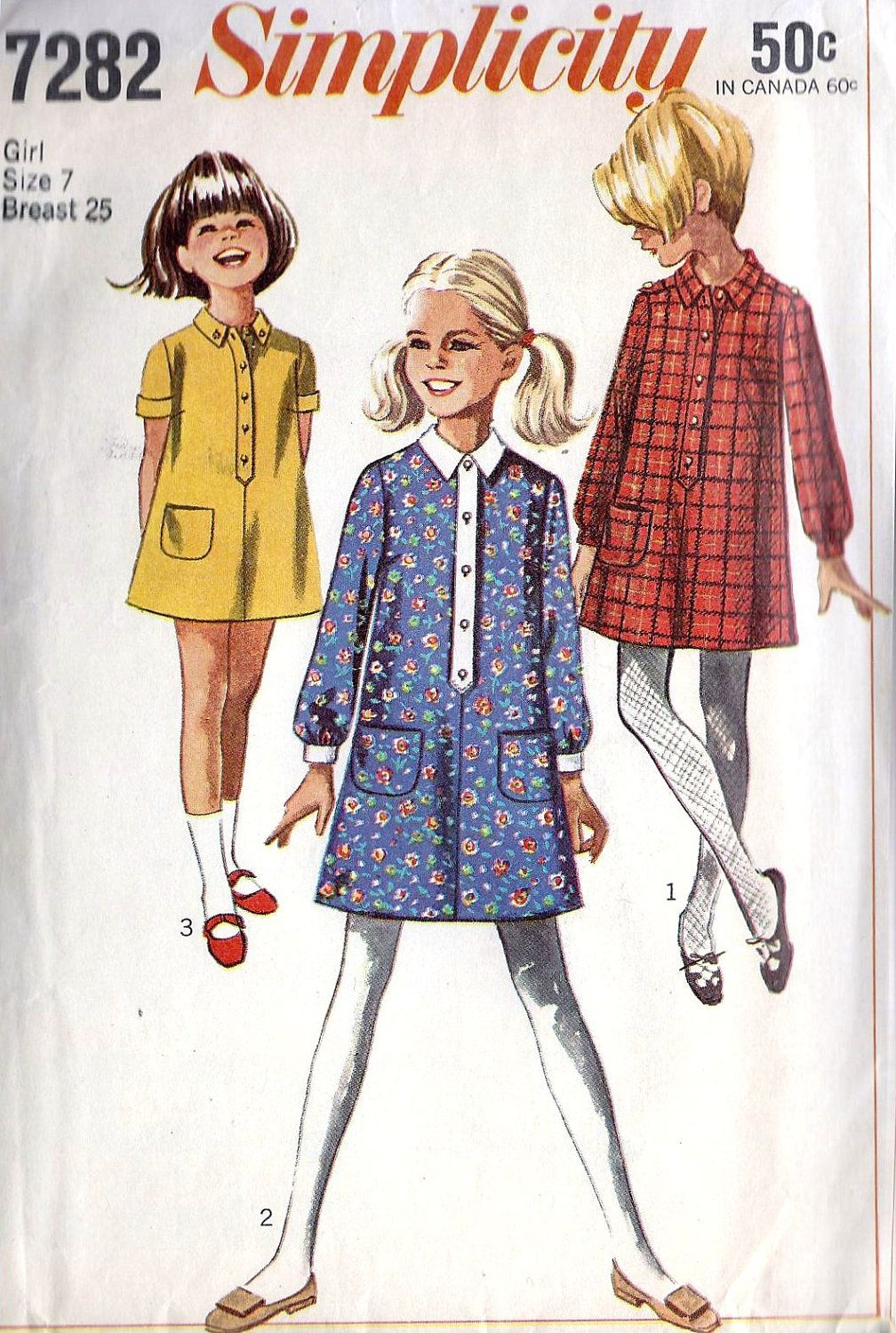 1960s Girls Step In Dress Vintage Sewing Pattern, Simplicity 7282 Girls Size 7 via Etsy.
