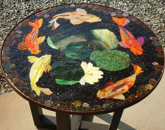 Made to order 30 koi mosaic table top patio bistro for Koi fish pool table