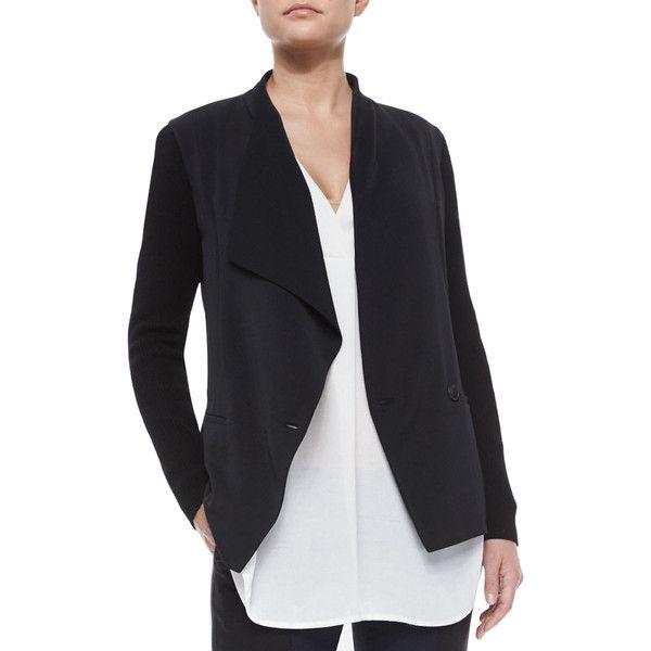 Vince Knit-Sleeve Draped Crepe Jacket ($445) ❤ liked on Polyvore