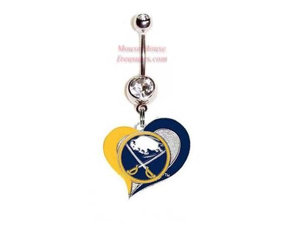 NHL Buffalo Sabres Heart Logo Belly Ring. Authentic Charm on Your Choice of Gem Colors! NHL Buffalo