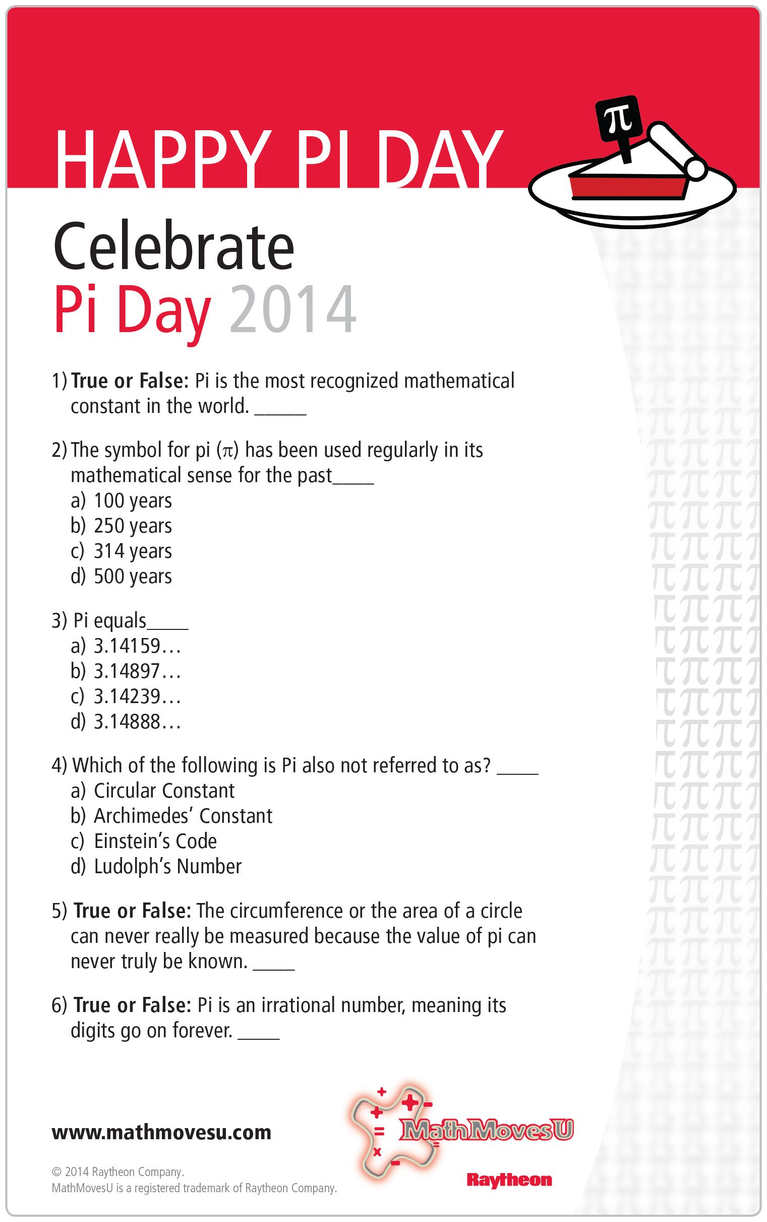 Piday Quiz Creative Math Math Is Everywhere Math Resources