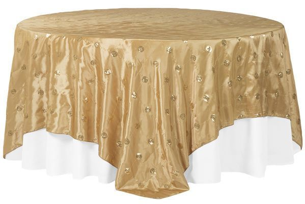 Sequin Circle Embroidery Table Overlay Ivory