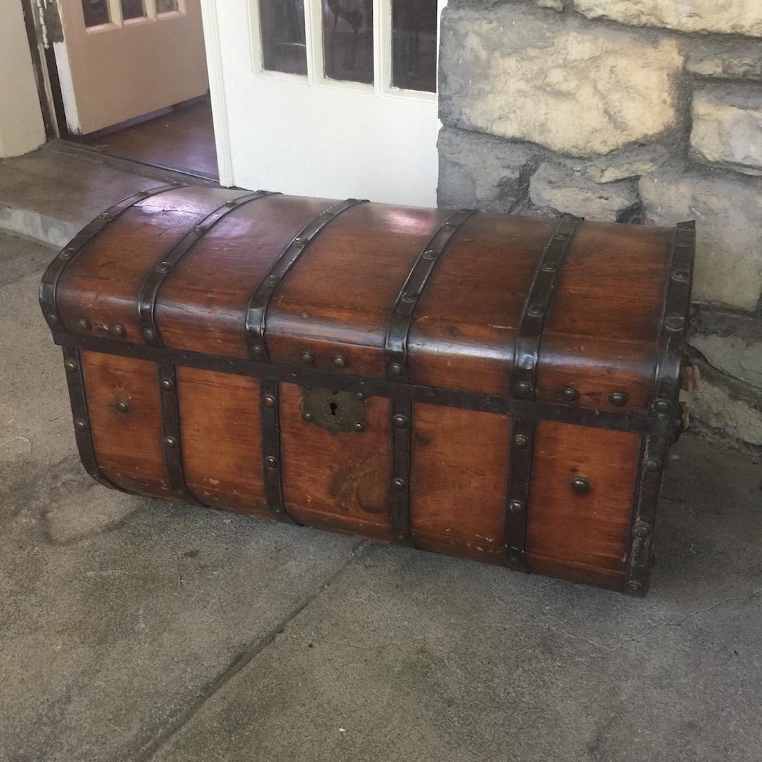 Antique furniture - 19th C. Sea Chest With Metal Straps Antique Furniture Pinterest