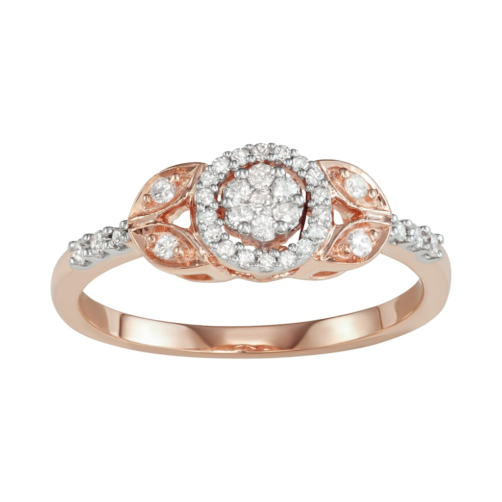 10k Rose Gold 1 4 Carat T W Diamond Halo Engagement Ring Halo Diamond Engagement Ring Halo Diamond Engagement Rings