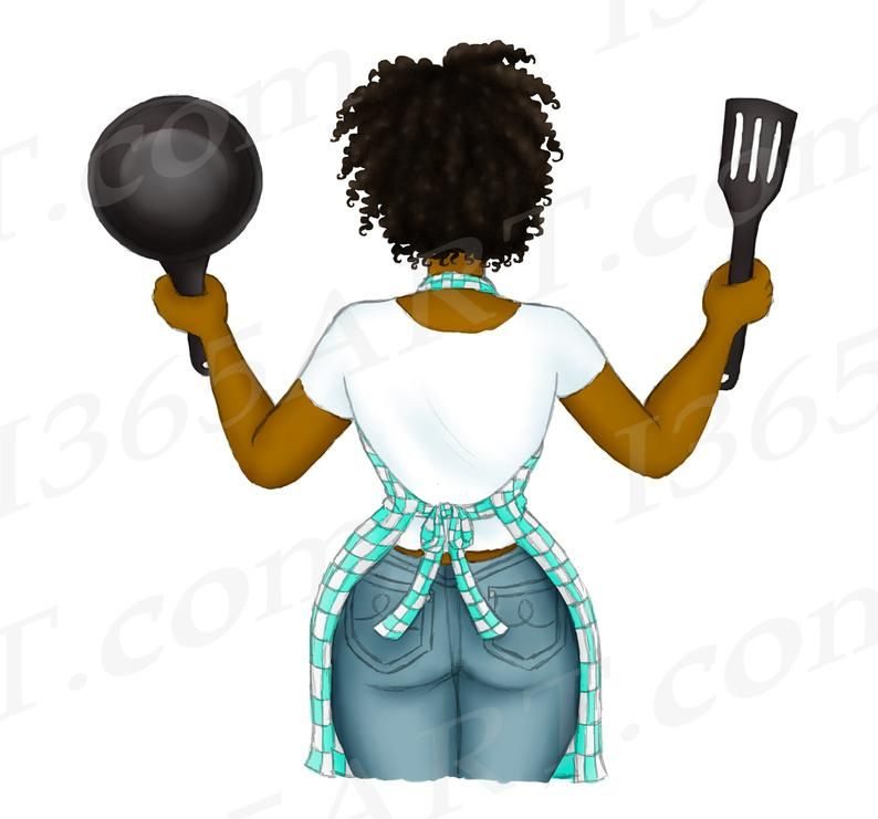 Cooking Woman Black Woman Clipart Natural Hair Black Girl Etsy In 2021 Girl Clipart Hair Illustration Natural Hair Styles