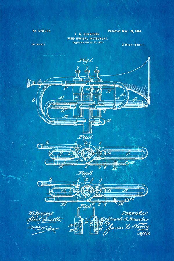 Buescher epoch cornet wind instrument patent art 1901 blueprint buescher epoch cornet wind instrument patent art 1901 blueprint canvas print canvas art by ian monk malvernweather Images