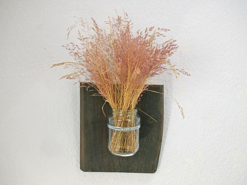 Wandvase Altholz Vase Upcycling natur von Schlueter-Home-Design auf DaWanda.com