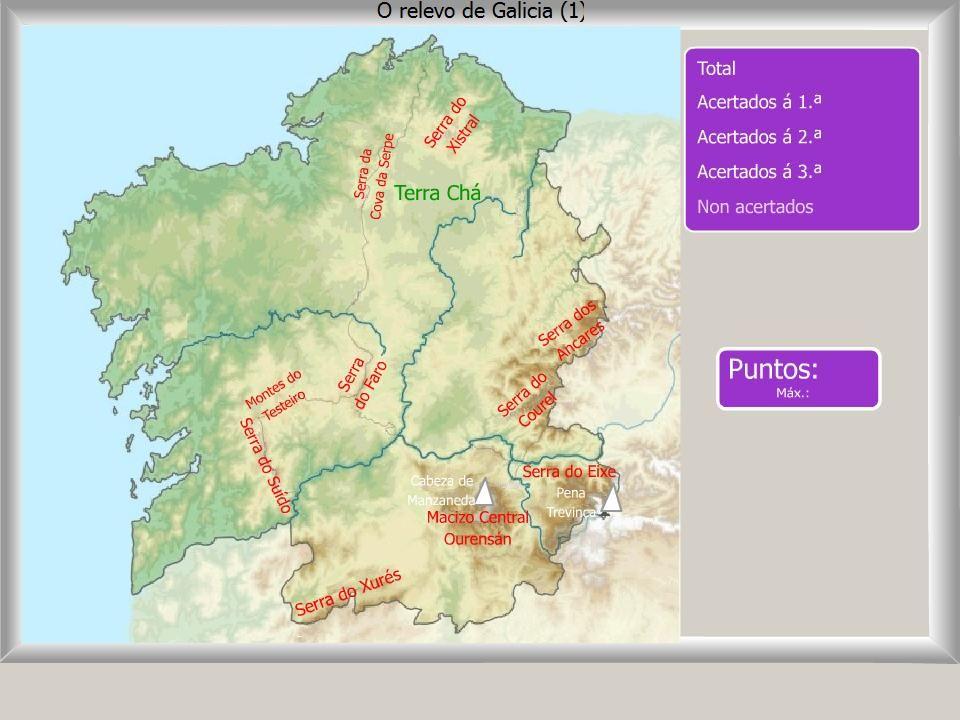 Mapa interactivo de Galicia Relevo de Galicia Onde est
