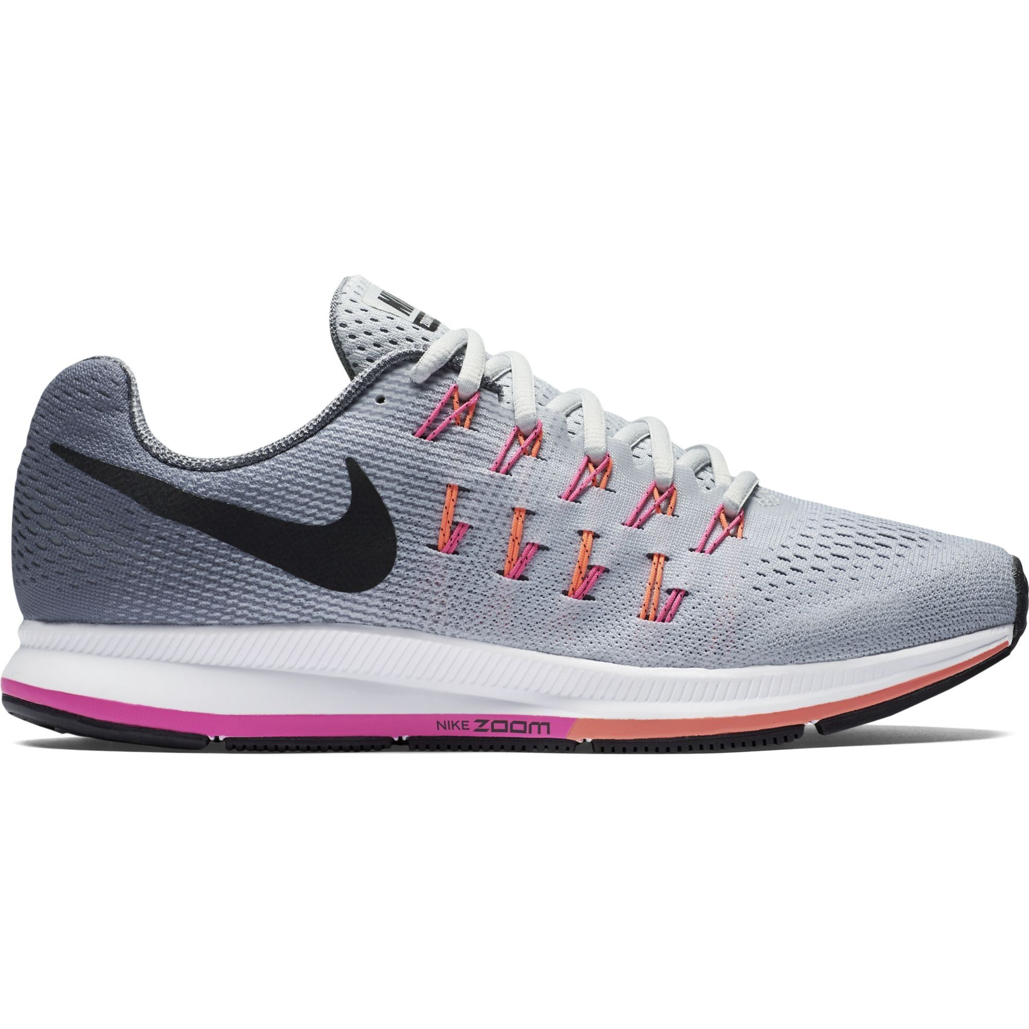 ad127ea289ebb Women s Nike Air Zoom Pegasus 33 (Wide) Running Shoe Platinum Black Grey Pink  Blast Size 7 Wide US. Horizontal and vertical cuts in the crash rail  enhance ...