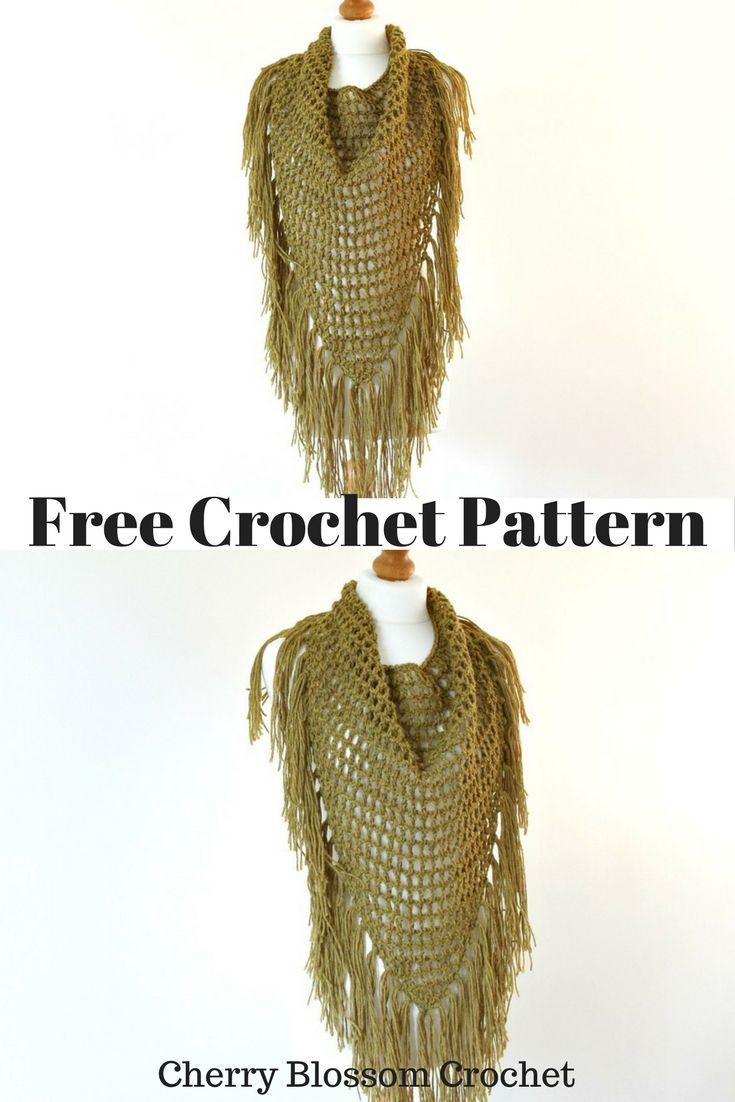 Crochet Mesh Loop Triangle Scarf | Knit - Crochet - Favorite ...