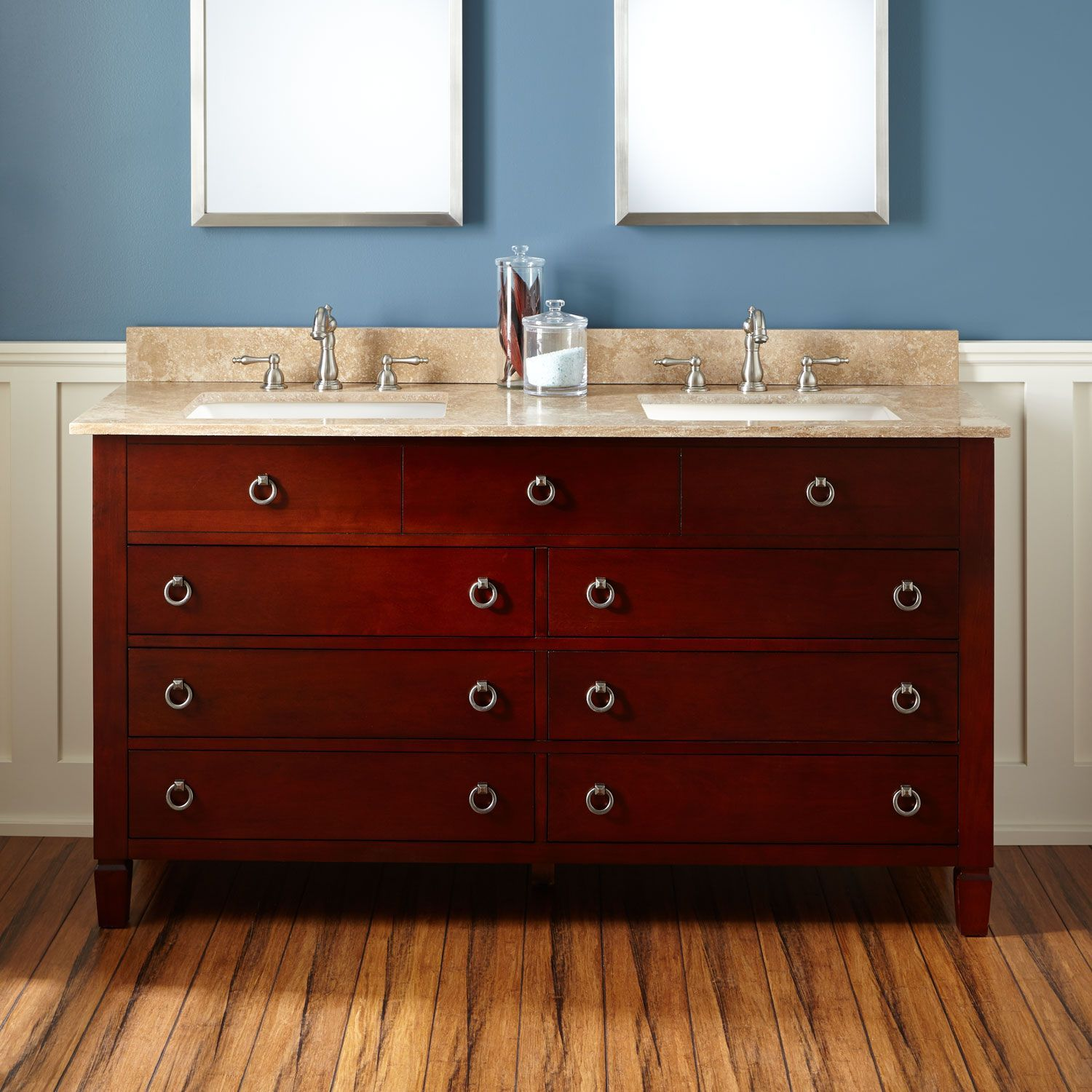 "60"" Watkins Double Vanity For Rectangular Undermount Sinks  Light Fair Cherry Bathroom Vanity Inspiration Design"