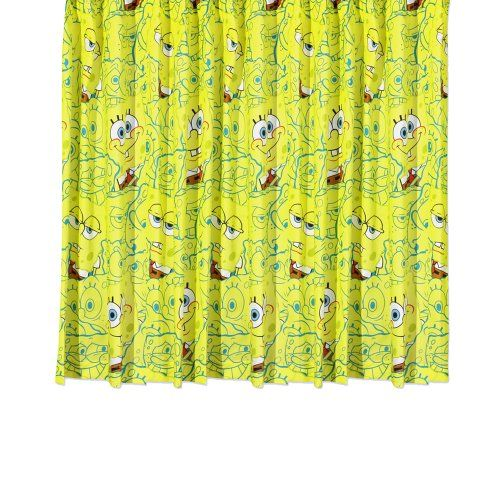 Character World Spongebob Squarepants Heads 54inch Curtains ** To view further for this item, visit the image link.-It is an affiliate link to Amazon. #WindowCurtain