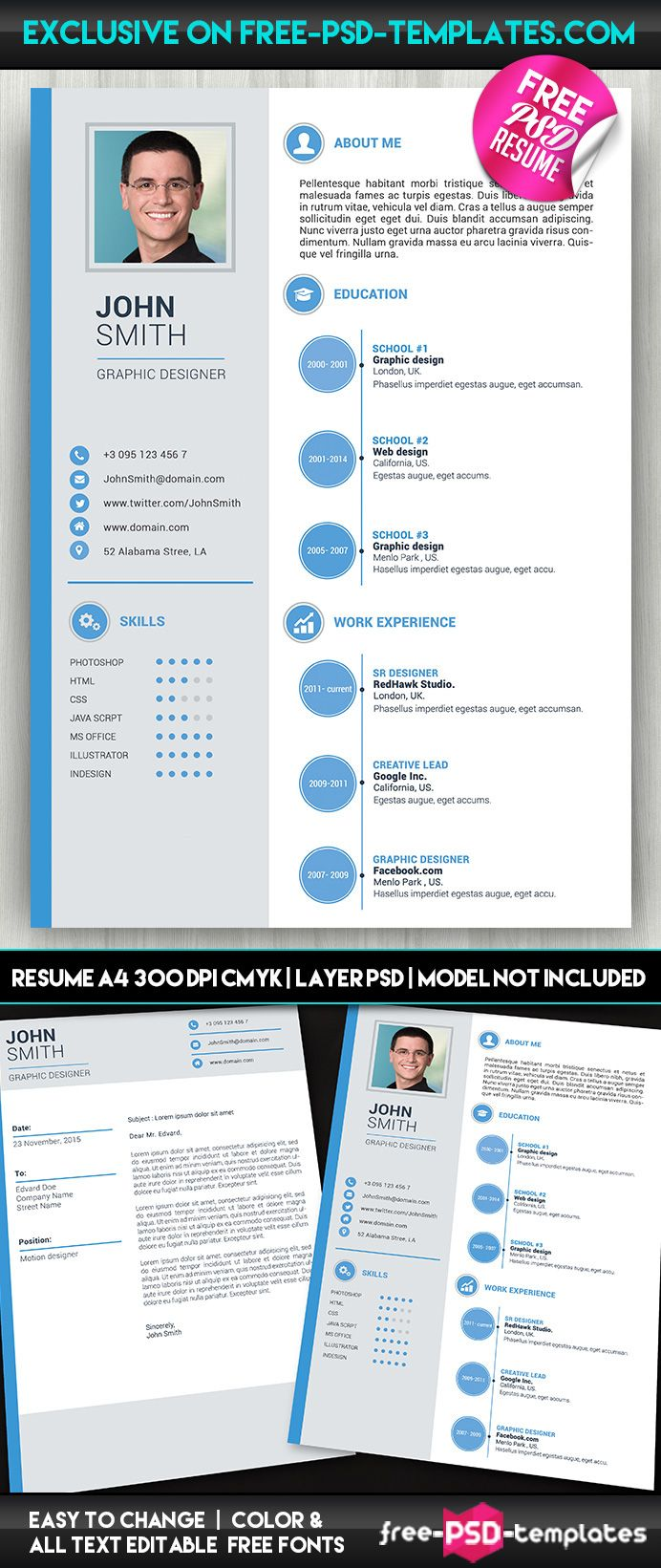 Simple Resume / CV Free PSD Template on Behance Psd