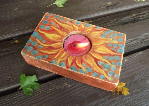 Sun candle holderwood tealight holderwood by heARTofNatureStudio