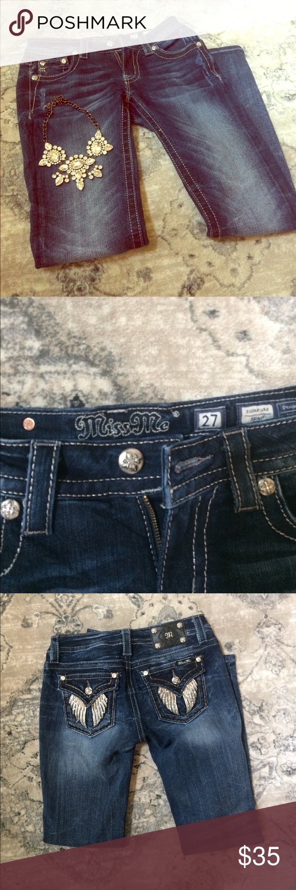 """Miss Me Signature Skinny Jeans Excellent condition, angel wing accents on back pocket, 16"""" waist, 30"""" inseam, 8.5"""" rise Miss Me Jeans Skinny"""