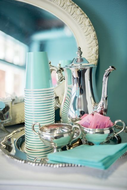 Tea Time at a Tiffany & Co Mother's Day Party!  See more party ideas at CatchMyParty.com!