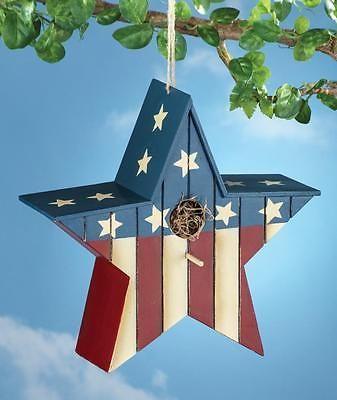"Patriotic Star Shape Outdoor Birdhouse American Flag Design Yard Decoration 11""H"