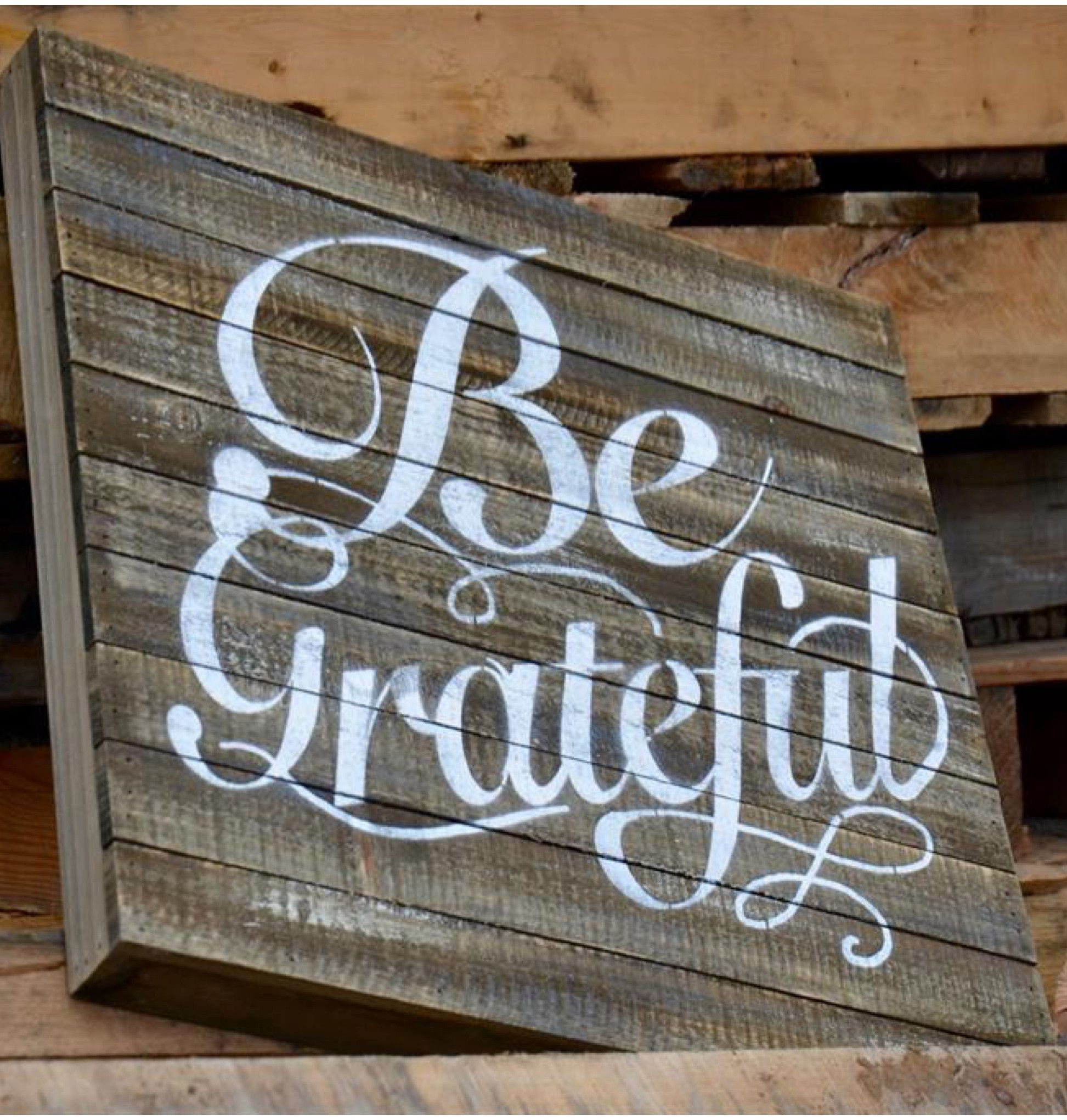 Weathered wood painted be grateful wall art downstairs decorating