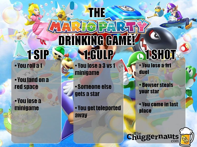 The Mario Party Drinking Game Drinking Games Drinking Party Drinking Games For Parties