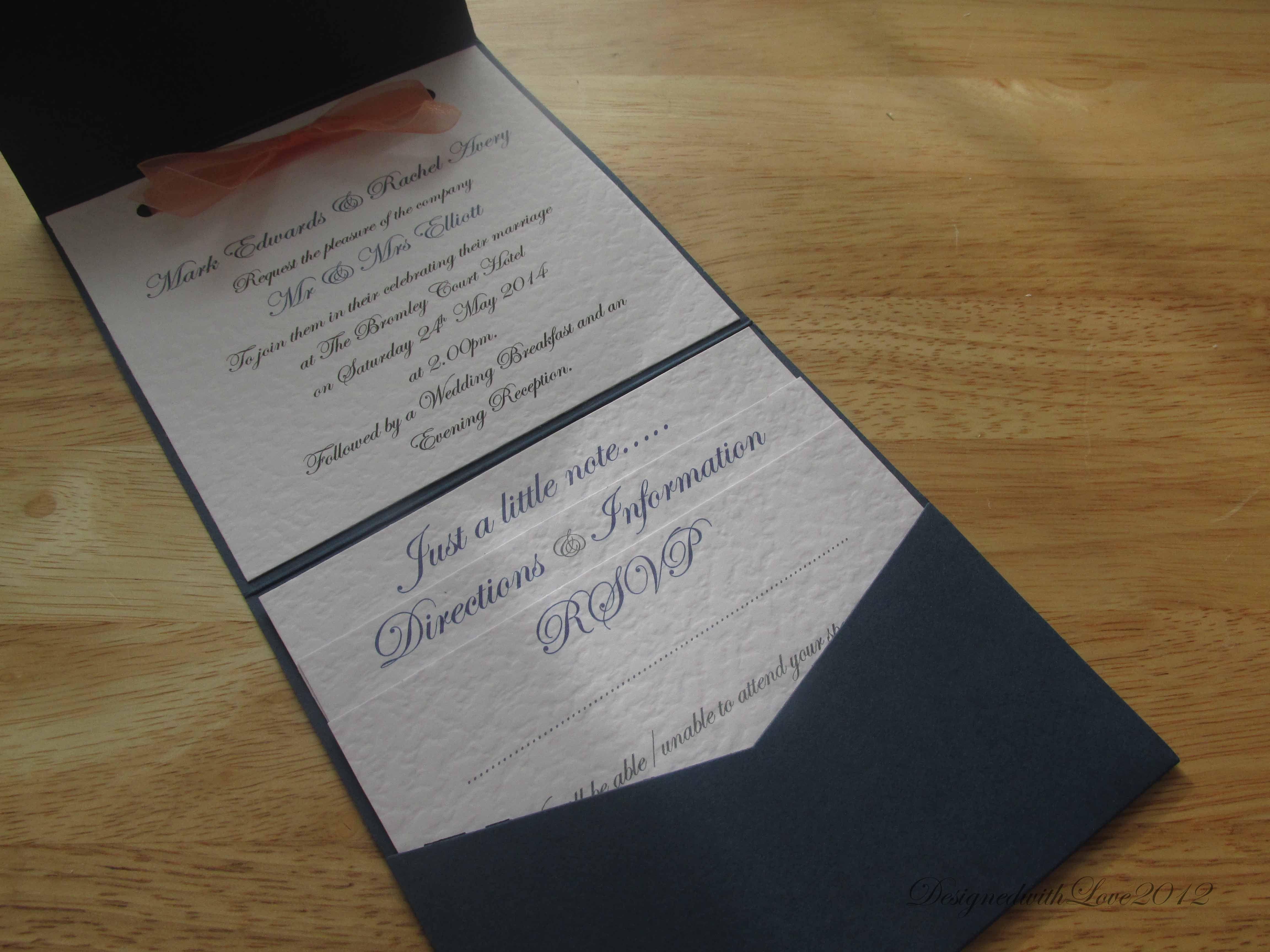 Navy pocketfold wedding invitation With coral organza