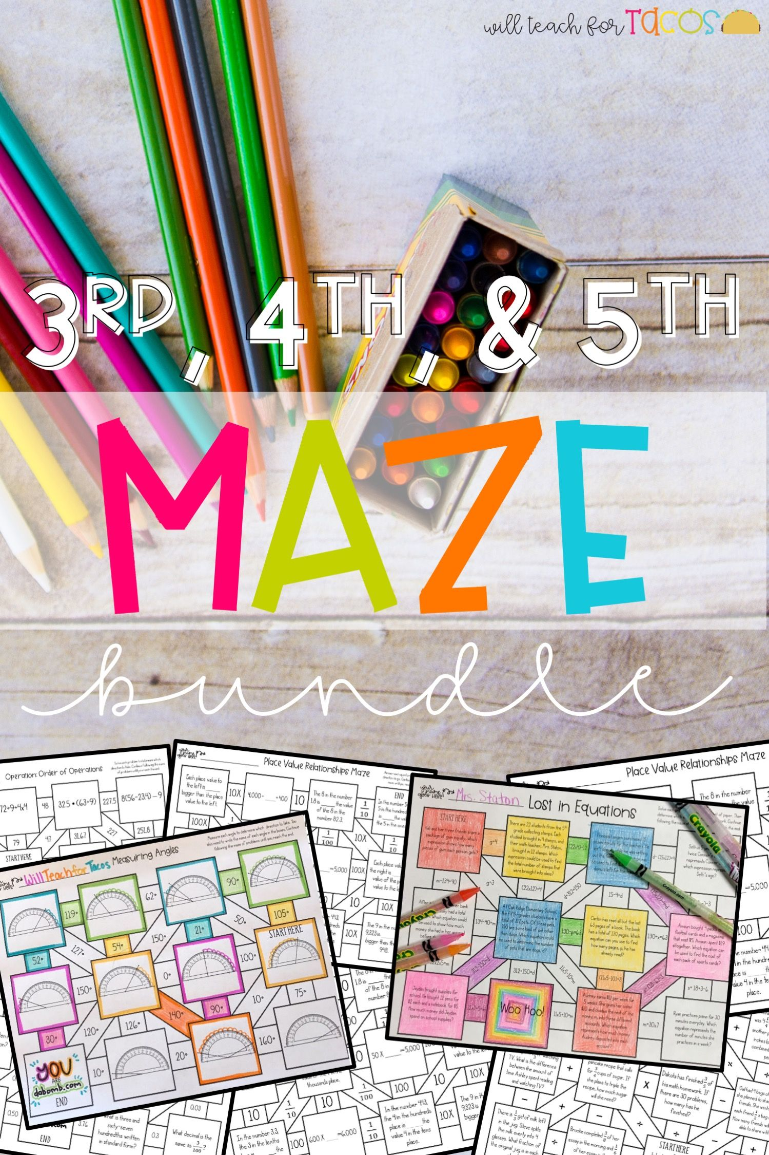 Math Mazes For 3rd 4th And 5th Grade A Fun Engaging