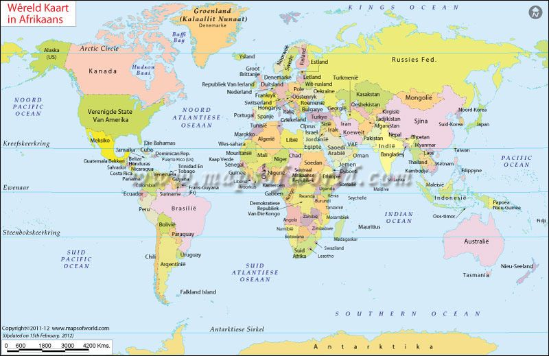 Wereld Kaart - World Map in Afrikaans