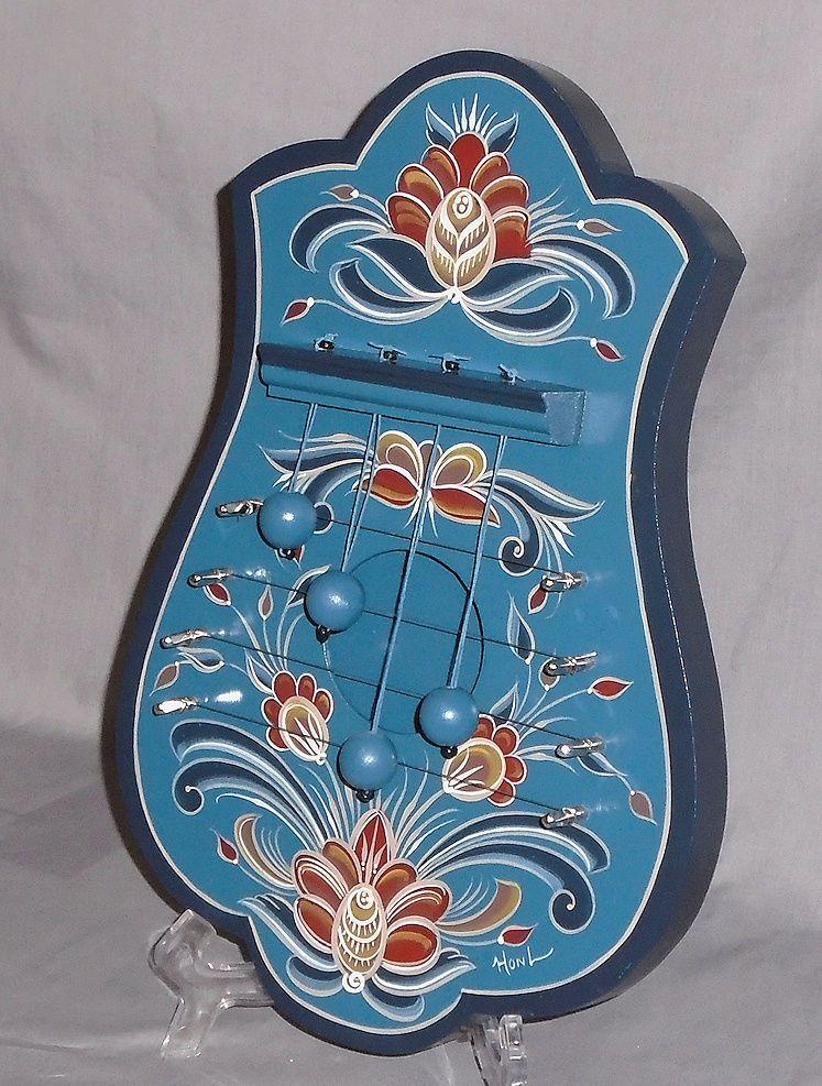 Norwegian Rosemaling Folk Art Decorative Door Harp - Dark Blue Border & Norwegian Rosemaling Folk Art Decorative Door Harp - Dark Blue ... pezcame.com