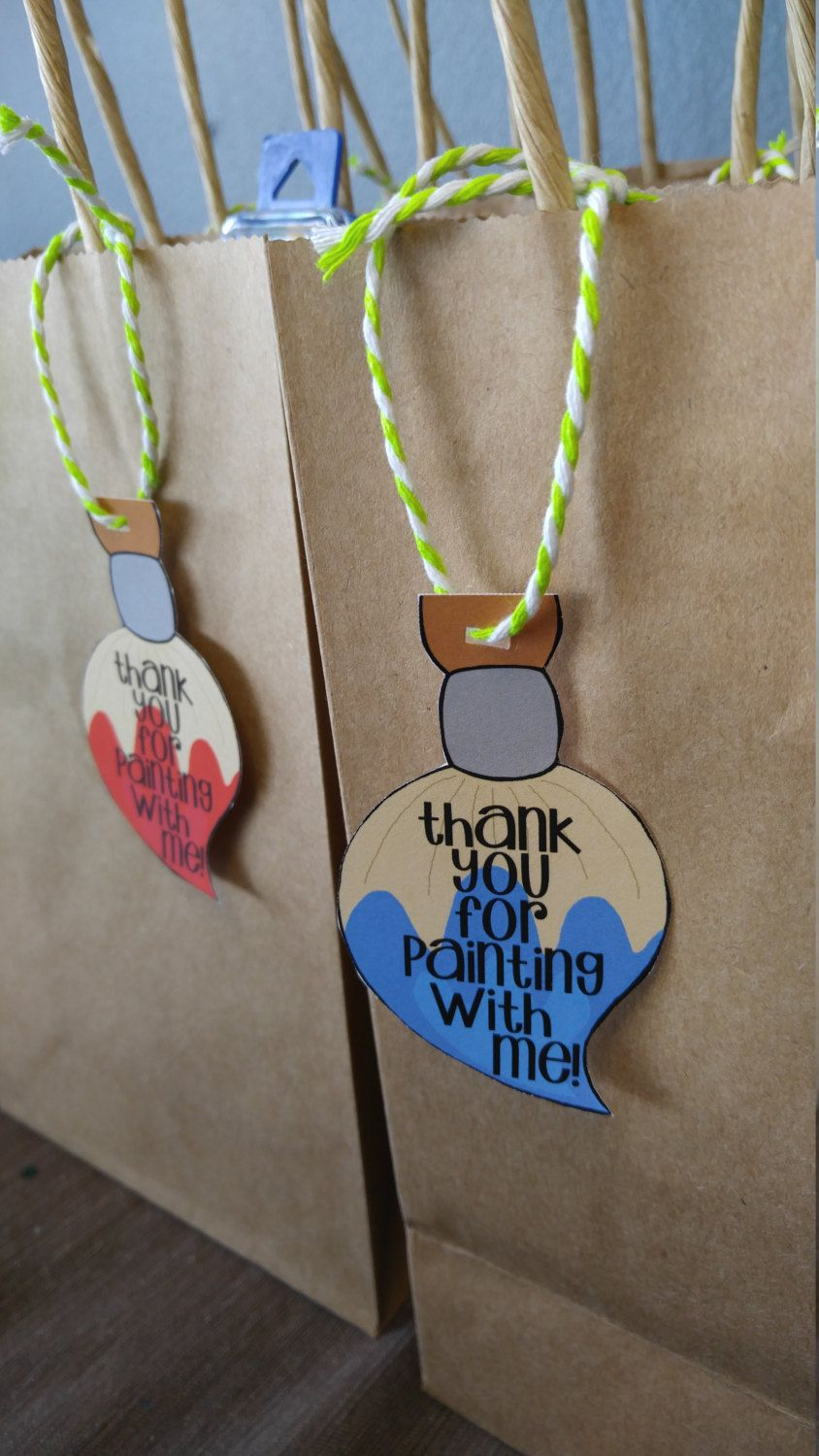 Art party favor tag paint party favor tag thank you tags