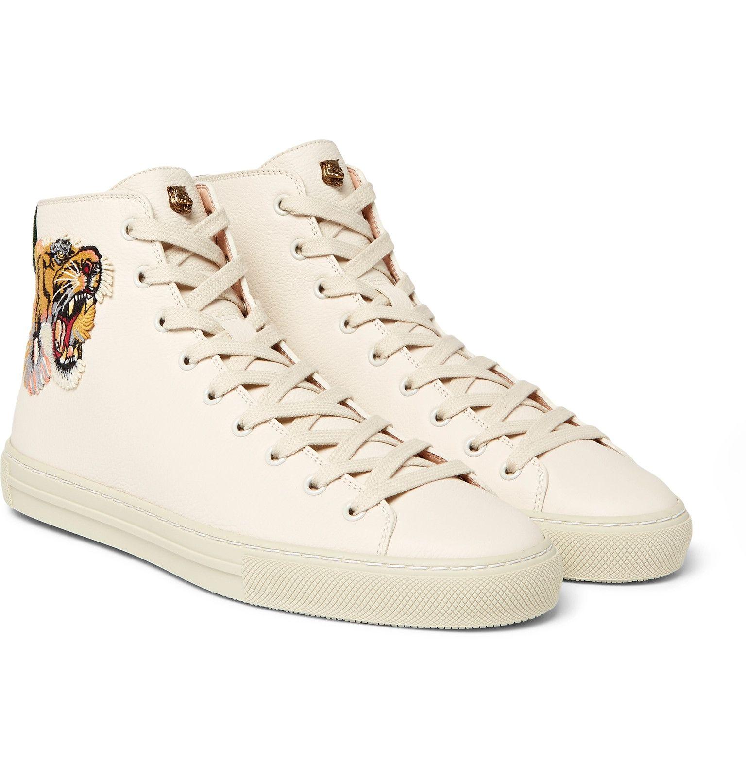 Gucci Major TigerAppliquéd FullGrain Leather HighTop