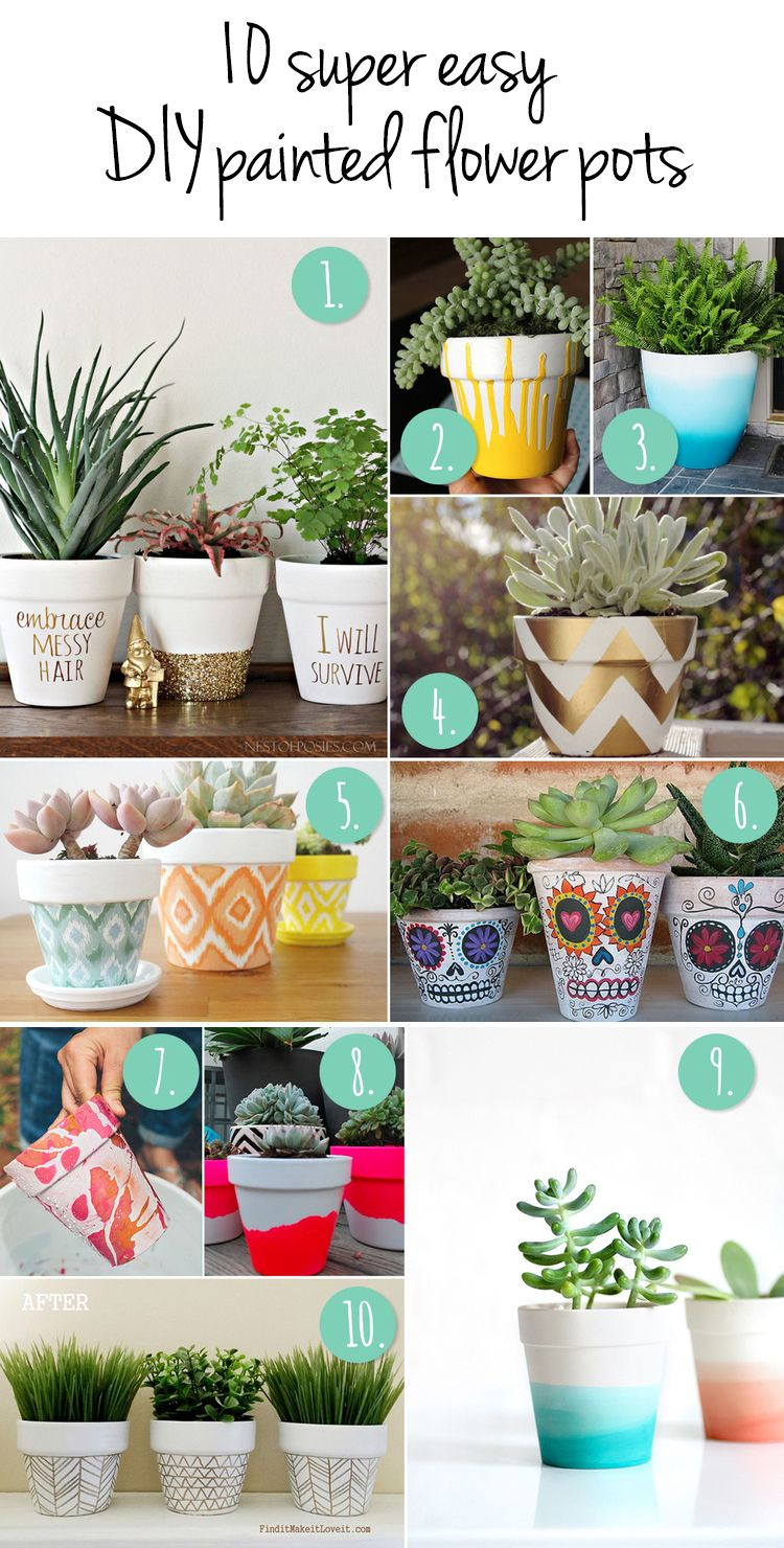 10 More DIY Flower Pot Painting Ideas | Paint flowers, Super easy ...