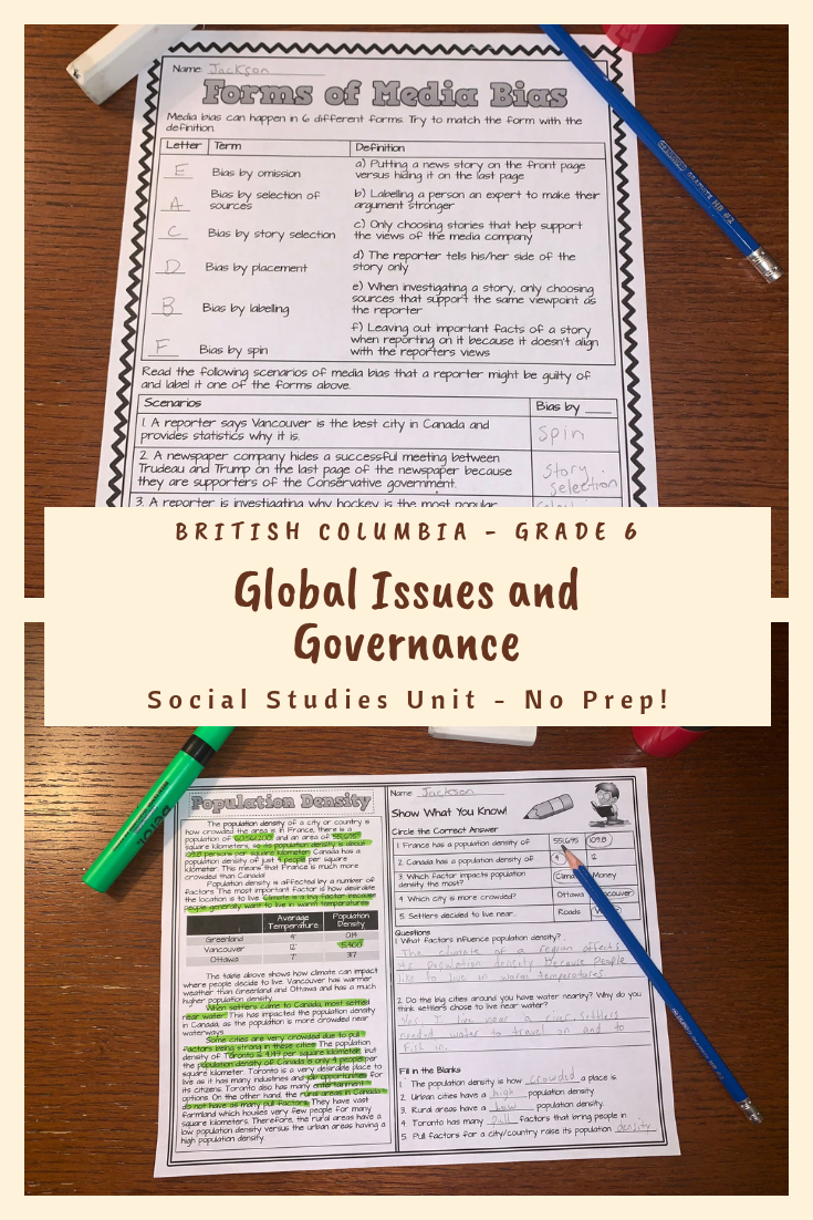 Global Issues and Governance - BC Grade 6 Reading \u0026 Activity Sheets Bundle    Reading curriculum [ 1102 x 735 Pixel ]