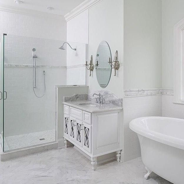Bathroom Tile Inspiration Gallery: Marble Inspiration In This Traditional Marble Bathroom
