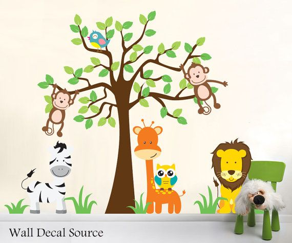 Nursery Jungle Wall Decals Animal Wall Decals By Walldecalsource