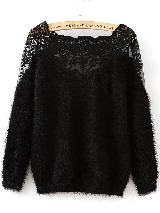 697e1b6bb9 Shop Black Lace Insert Boat Neck Mohair Sweater online. SheIn offers Black  Lace Insert Boat Neck Mohair Sweater & more to fit your fashionable needs.