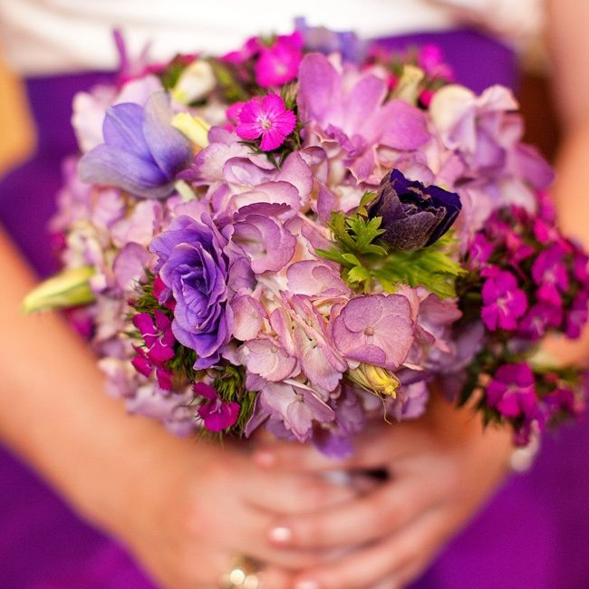 Mixed flowers in various shades of purple.