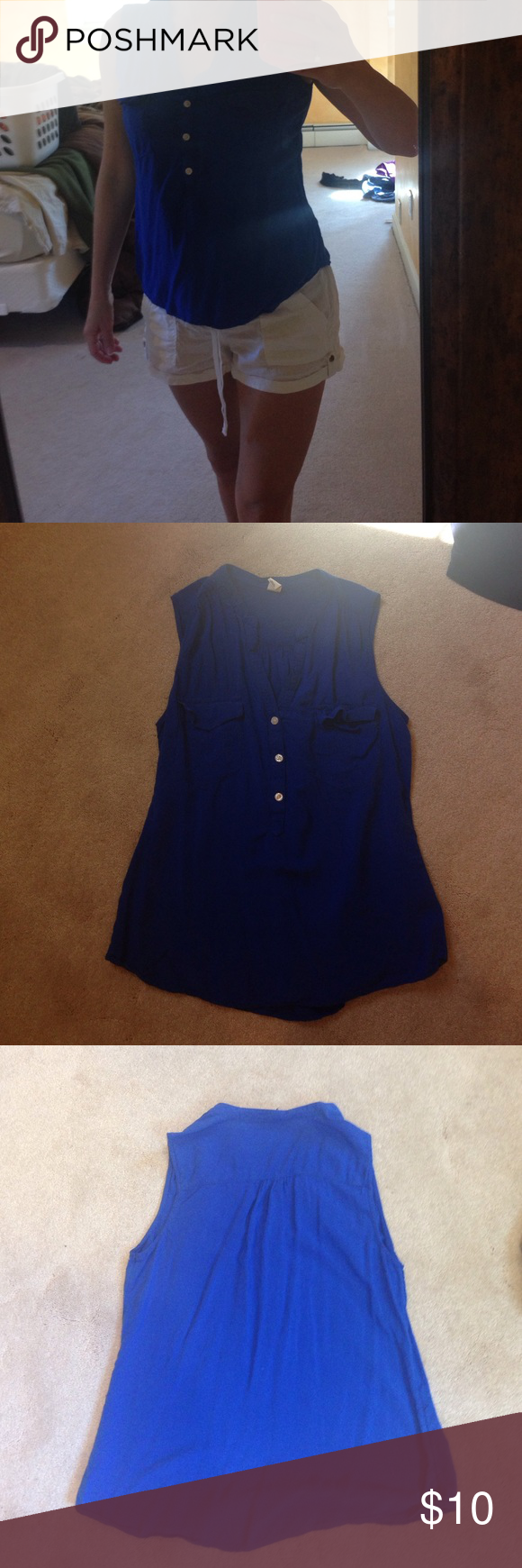 Flowy blue top This rayon top is very flattering and is a beautiful royal blue color. It has no flaws. Old Navy Tops Blouses