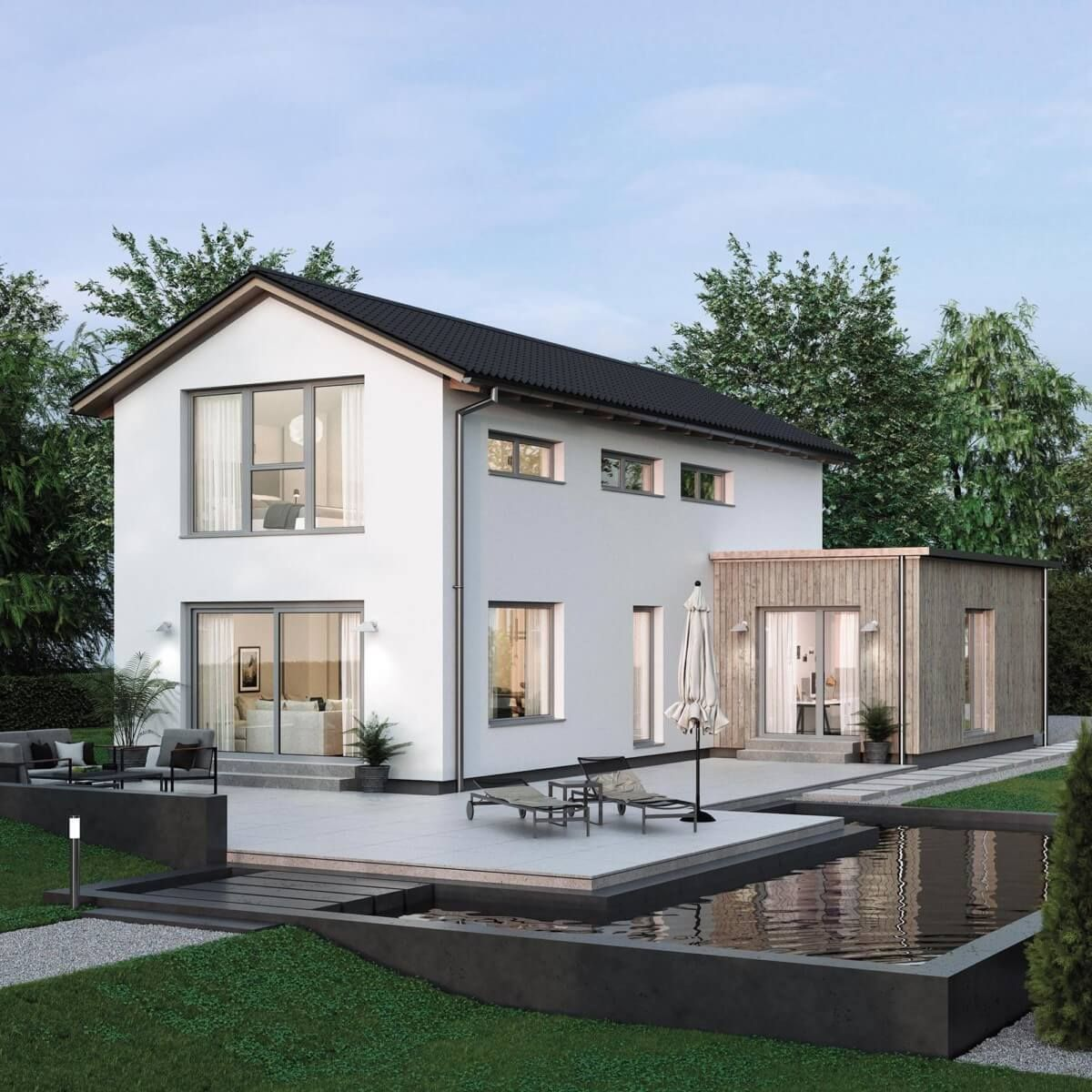 Modernes Einfamilienhaus Schmal Mit Satteldach Architektur U0026 Büro Anbau   Haus  Bauen Ideen ELK Haus 117