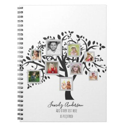 Photo Collage Family Tree Template Personalized Notebook Template