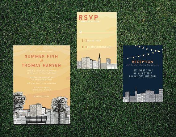 Cityscape Skyline Wedding Invitation   Printed Set, DIY Printable