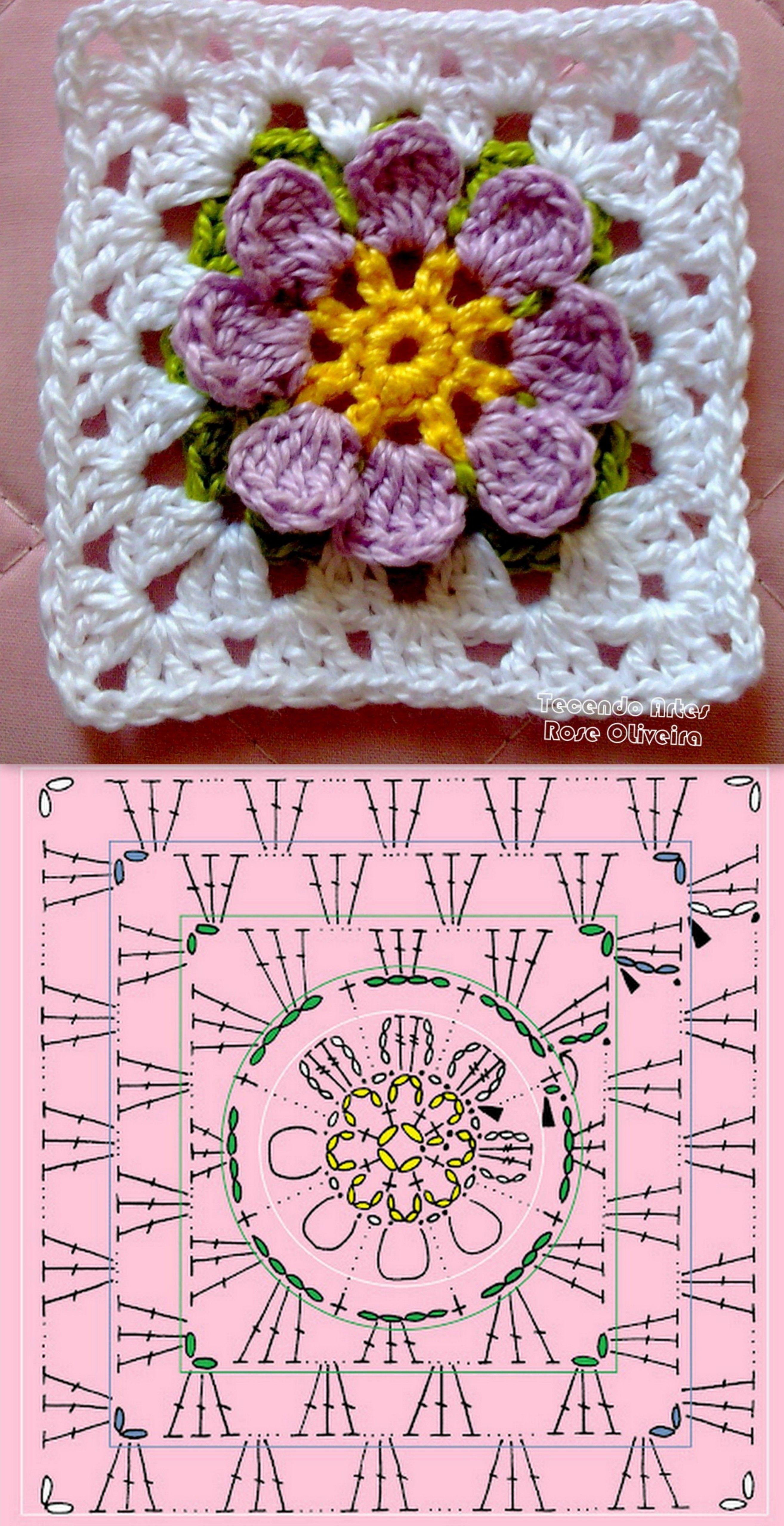 cuadrado - Square crochet ❥Teresa Restegui http://www.pinterest.com ...