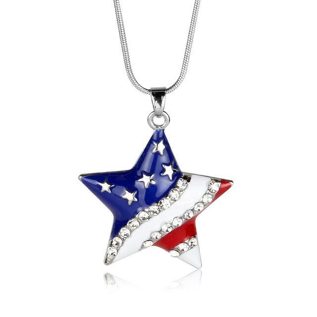 38a7795183291e USA American Flag Enamel Heart or Star Independence Day Necklace in ...
