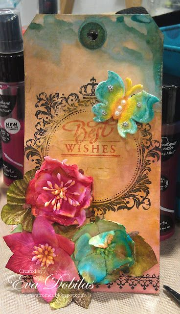 Tag made with JustRite Stamps designed by Eva Dobilas