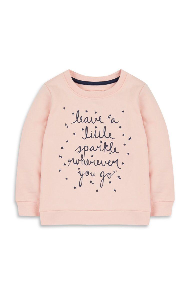 2b9516d84ea0 Baby Girl Sparkle Slogan Jumper